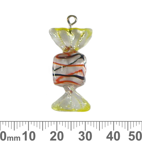 Red/Black/Yellow Lolly Glass Charm