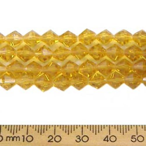 Amber 6mm Bicone Glass Crystal Strands