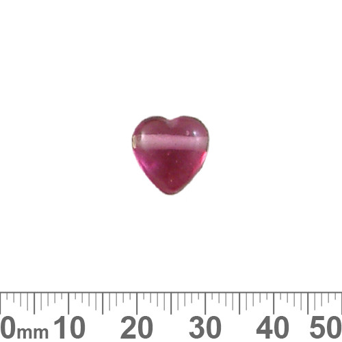 Pink Top Drilled Glass Heart Beads