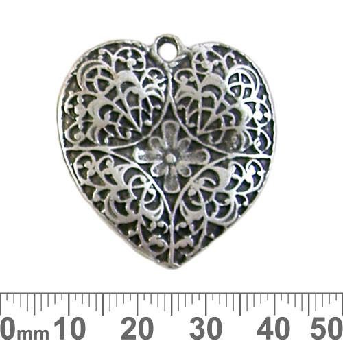 Antique Silver Engraved Heart Pendant
