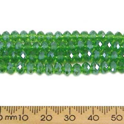 Chrysolite Green 6mm Rondelle Glass Crystal Strands