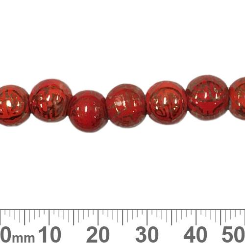 Red Round Ceramic Bead Strands