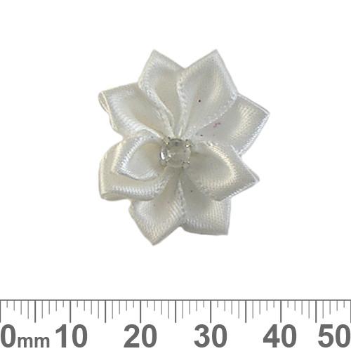 25mm White Fabric Flower
