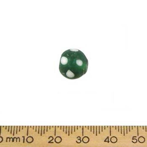 Dark Green w White Dots Round Glass Beads
