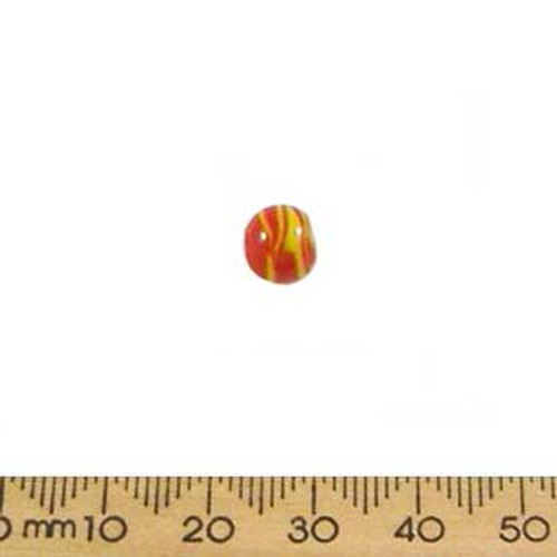 Red/Yellow Opaque Round Beads
