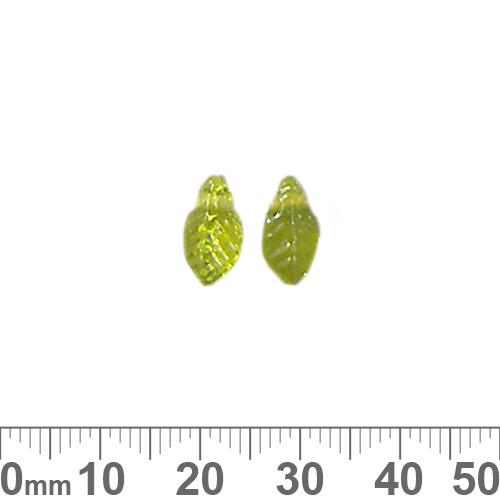 11mm Grass Green Leaf Glass Beads