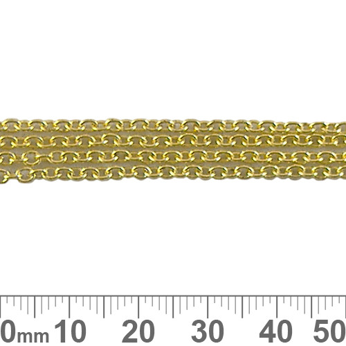 3mm Small Oval Loop Chain - Bright Gold