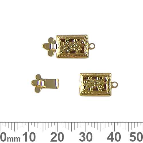 CLEARANCE 17mm Rectangular Filigree Single Strand Box Clasp