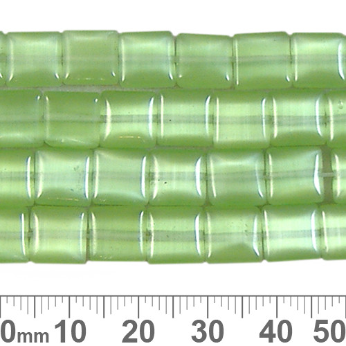 CLEARANCE 8mm Flat Puffy Square Green Cats Eye Strands