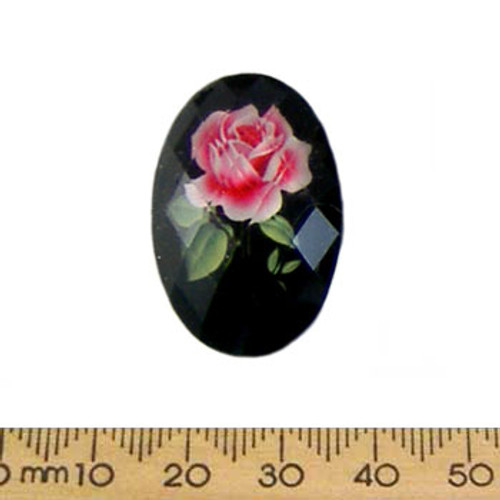 30mm Black Rose Faceted Resin Oval Cameo