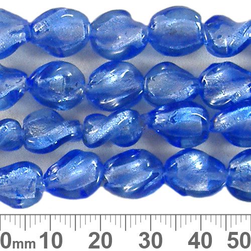 12mm Light Blue Twisted Flat Oval Bead Strands
