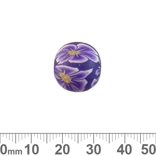 15mm Purple Flower Round Clay Beads