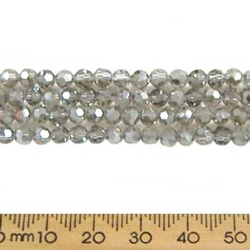 Smoky Quartz Grey 4mm Round Glass Crystal Strands