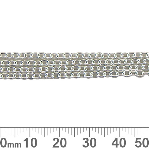 3.3mm Small Oval Loop Chain - Bright Silver
