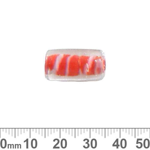 Orange Inside Colour Large Tube Glass Beads