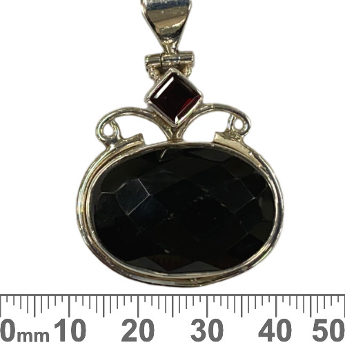 Faceted Onyx with Garnet Oval Sterling Silver Pendant