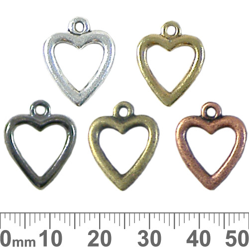Small Open Heart Metal Charms