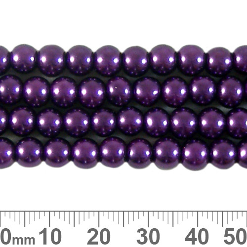 6mm Royal Purple Glass Pearl Strands