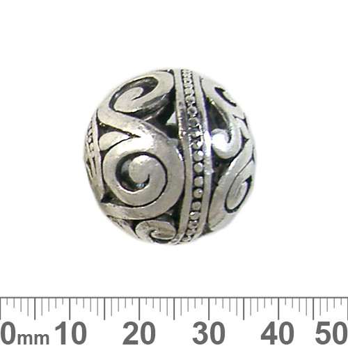 Bali Style 24mm Round Metal Bead