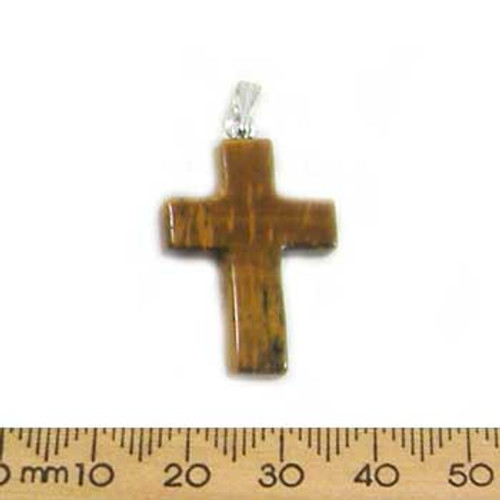 Small Tiger Eye Cross Pendant