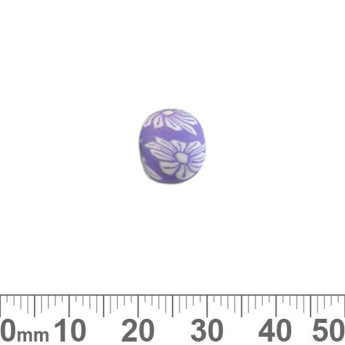10mm Purple Flower Round Clay Beads