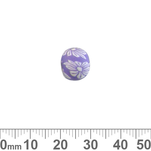 10mm Purple Flower Round Clay Beads