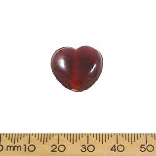 Dark Red Medium Heart Glass Beads