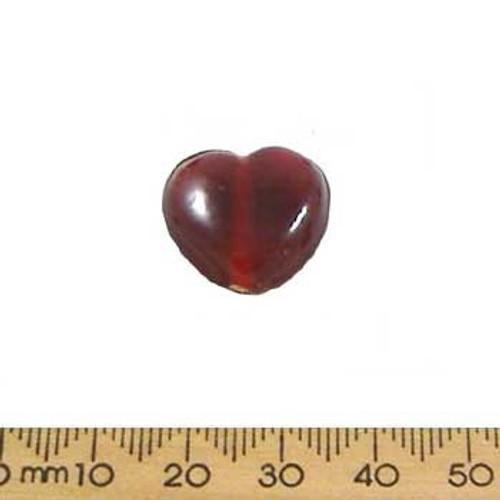 Dark Red Medium Heart Glass Beads
