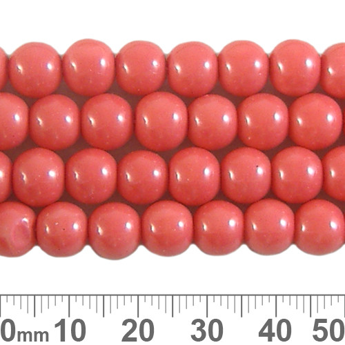 8mm Coral Glass Bead Strands