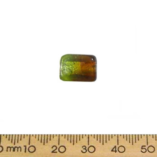 13mm Green/Brown Duo Rectangle Glass Beads