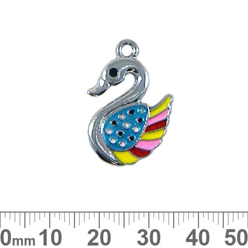 Swan Enamel Metal Charm