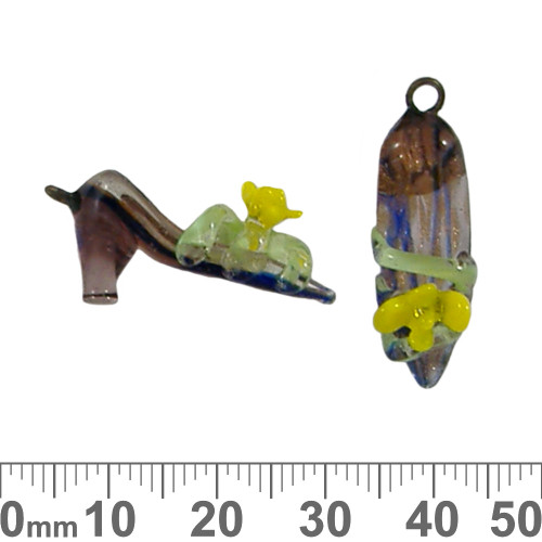 Rose High Heel Shoe Glass Bead Charm