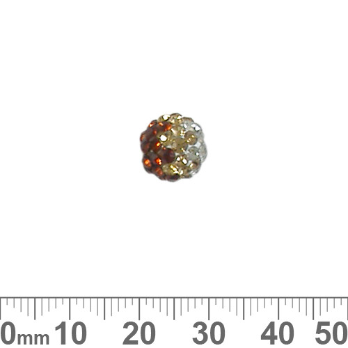 10mm Sparkly Transitional Brown/Clear Pave Bead