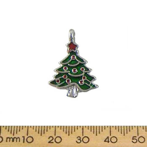 Wide Green Christmas Tree Enamel Metal Charm