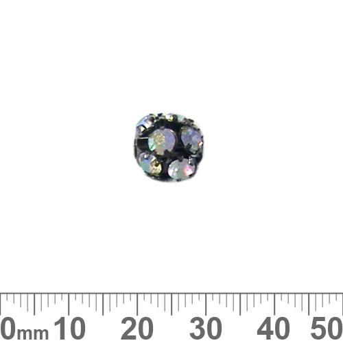 10mm Black Sparkly AB Diamante Metal Ball