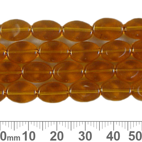 10mm Amber Small Flat Oval Glass Bead Strands