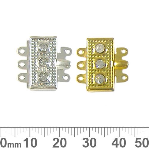 Rectangular Three Strand Diamante Box Clasp
