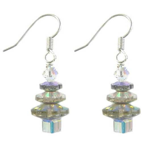 Christmas Tree A-Grade Crystal Earrings Kit - Clear AB