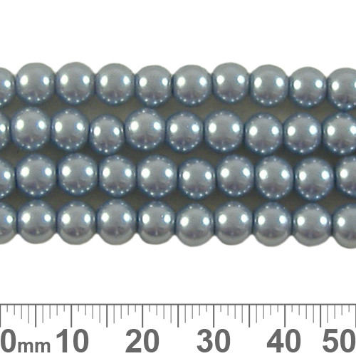 6mm Grey Blue Glass Pearl Strands