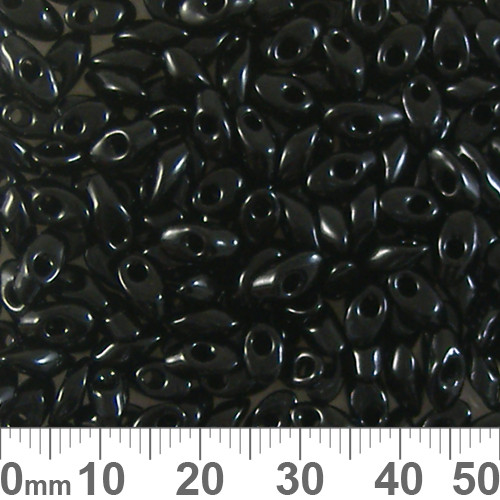 Black Long Magatama Beads
