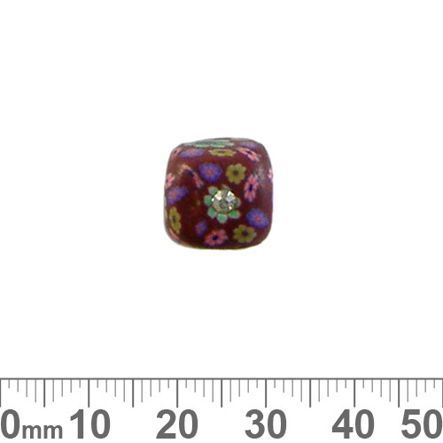 12mm Brown w Diamante Cube Clay Beads