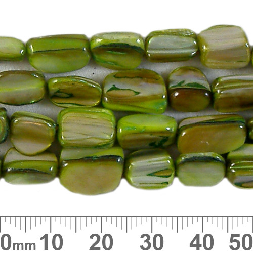 10mm Green Cube Shell Bead Strands