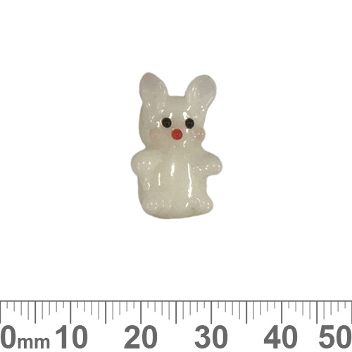 White Bunny Rabbit Glass Bead