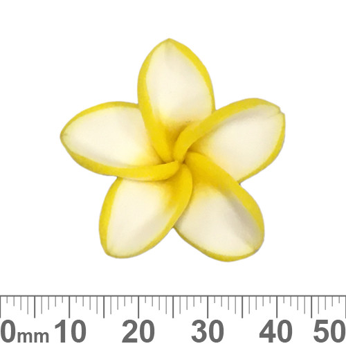 Large Yellow/White Clay Flower Beads