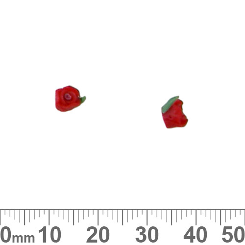 Tiny Red Clay Rose Beads