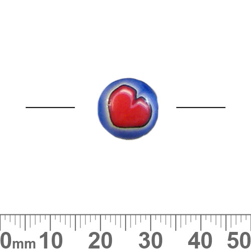 12mm Blue/Red Heart Round Disc Clay Beads