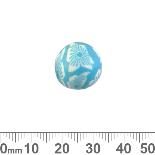 15mm Aqua Flower Round Clay Beads