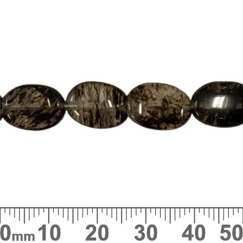 "Smoky ""Quartz"" 13mm Flat Oval Beads"