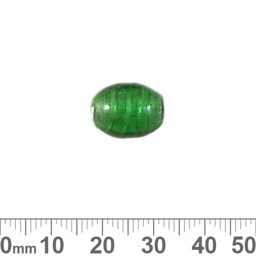 14mm Green S/F Oval Glass Beads
