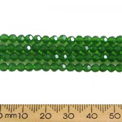 Chrysolite Green 4mm Round Glass Crystal Strands